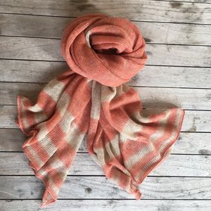 Alpaca And Linen Stripey Scarf - womens