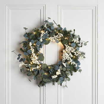 Eucalyptus And White Berry Christmas Wreath