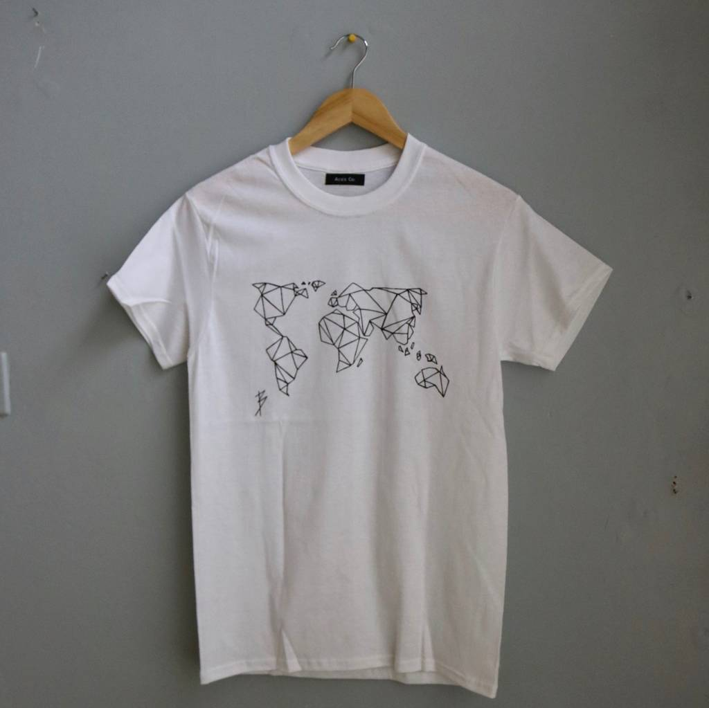Origami world map t shirt by acies co notonthehighstreet origami world map t shirt jeuxipadfo Gallery