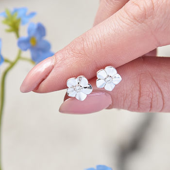 Forget Me Not Solid Silver Stud Earrings