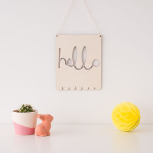 Hello Patterned Wooden Banner