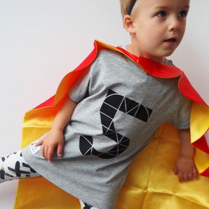 Kids Geometric Birthday Number Grey T Shirt - clothing