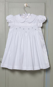 Hand Smocked White Rosebud Dress