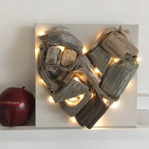 Driftwood Love Heart With Lights On Canvas