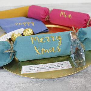 Reusable Christmas Cracker Personalised Name Napkins