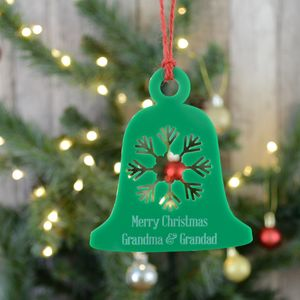 Acrylic Personalised Green Christmas Bell Decoration