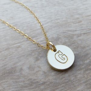 Embossed Brass Necklace - personalised jewellery