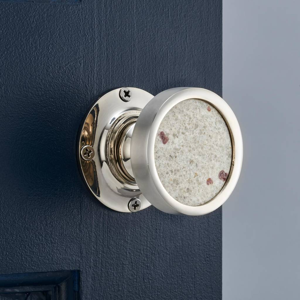Contemporary Internal White Granite Mortice Door Knob By