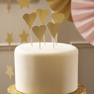Metallic Glitter Heart Cake Toppers - cake decoration