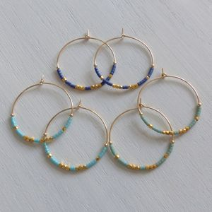 Large Fair Trade Ocean Inspired Delica Hoop Earrings