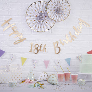Gold Foiled Happy 18th Birthday Bunting Backdrop