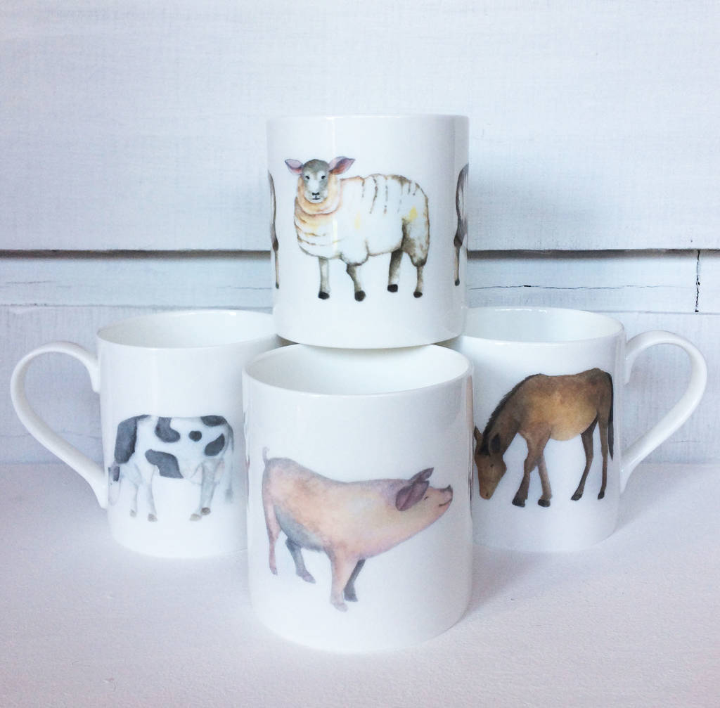 Farmyard Animal Fine Bone China Mugs