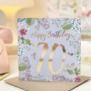 70th Birthday Botanical And Gold Greeting Card