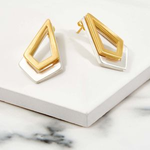 Gold And Silver Earrings Triangle Serenity - earrings