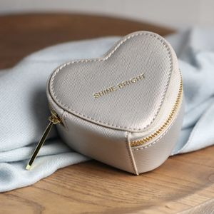 Heart Shaped Silver Metallic Jewellery Box - jewellery rolls & wallets