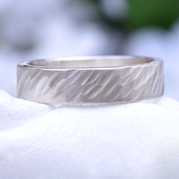 Hammered Silver Ring, Windswept Texture