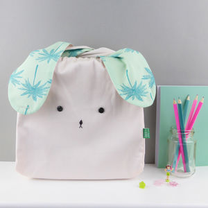 Bunny Rabbit Pastel Palm Tree Fabric Bag - best gifts for girls