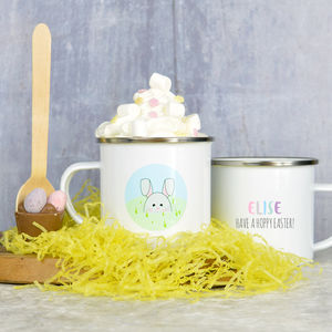 Personalised Easter Mug With Hot Chocolate Stirrer