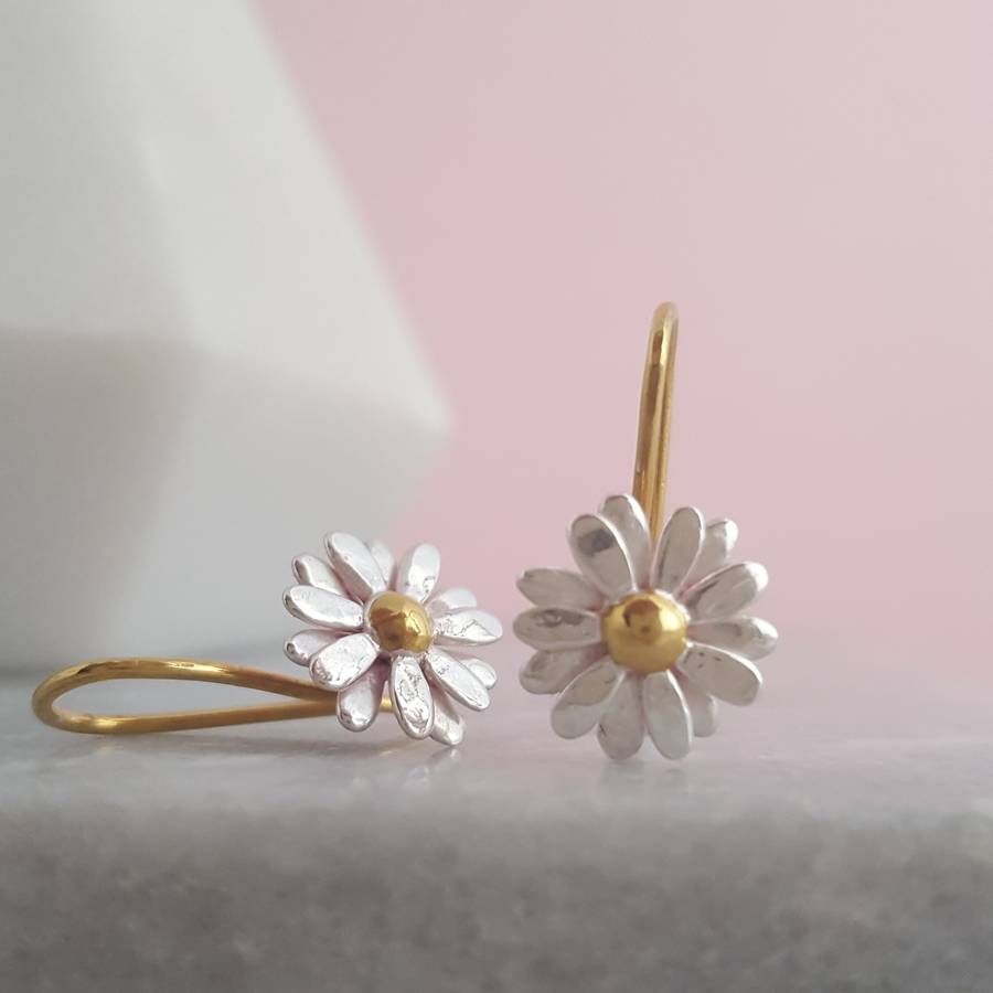 Two Tone Sterling Silver Small Daisy Drop Earrings By