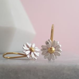 Two Tone Sterling Silver Small Daisy Drop Earrings - summer sale