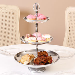 Three Tier Brushed Silver Elegant Cake Stand