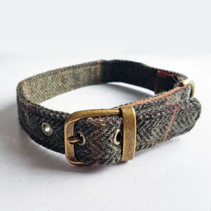 Dog Collar Tweed Dark Green - dog collars