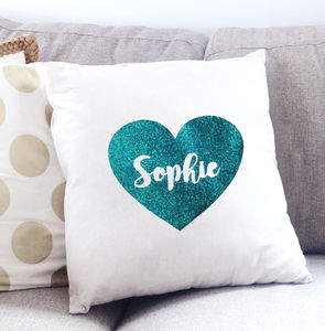 Personalised Glitter Heart Cushion Cover - personalised cushions