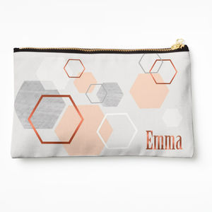 Copper Blush And Grey Geometric Make Up Bag
