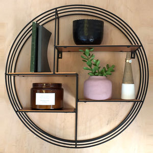 Round Black Metal Display Shelf - shelves