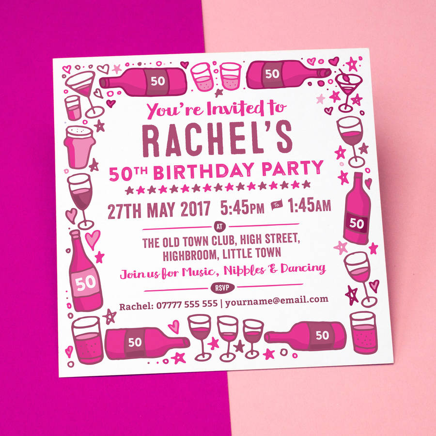 Wine Beer And Drinks Personalised Party Invitations