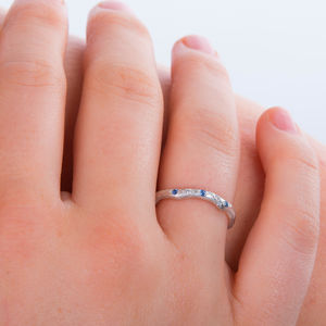 Eternity Ring Set With Sapphire And Diamond - rings
