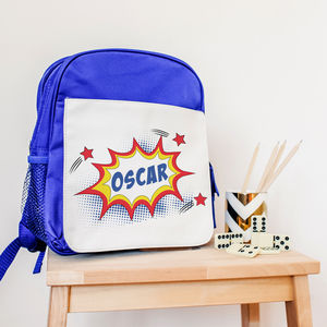 Children's Personalised Superhero 'Kapow' Blue Rucksack - bags, purses & wallets