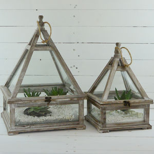 Hanging Wooden Terrariums
