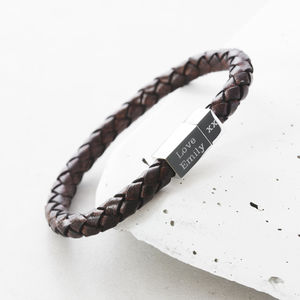 Men's Square Leather Engraved Bracelet - 30th birthday gifts