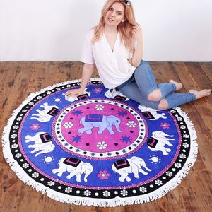 Round Jaipur Elephant Beach Towel - bed, bath & table linen