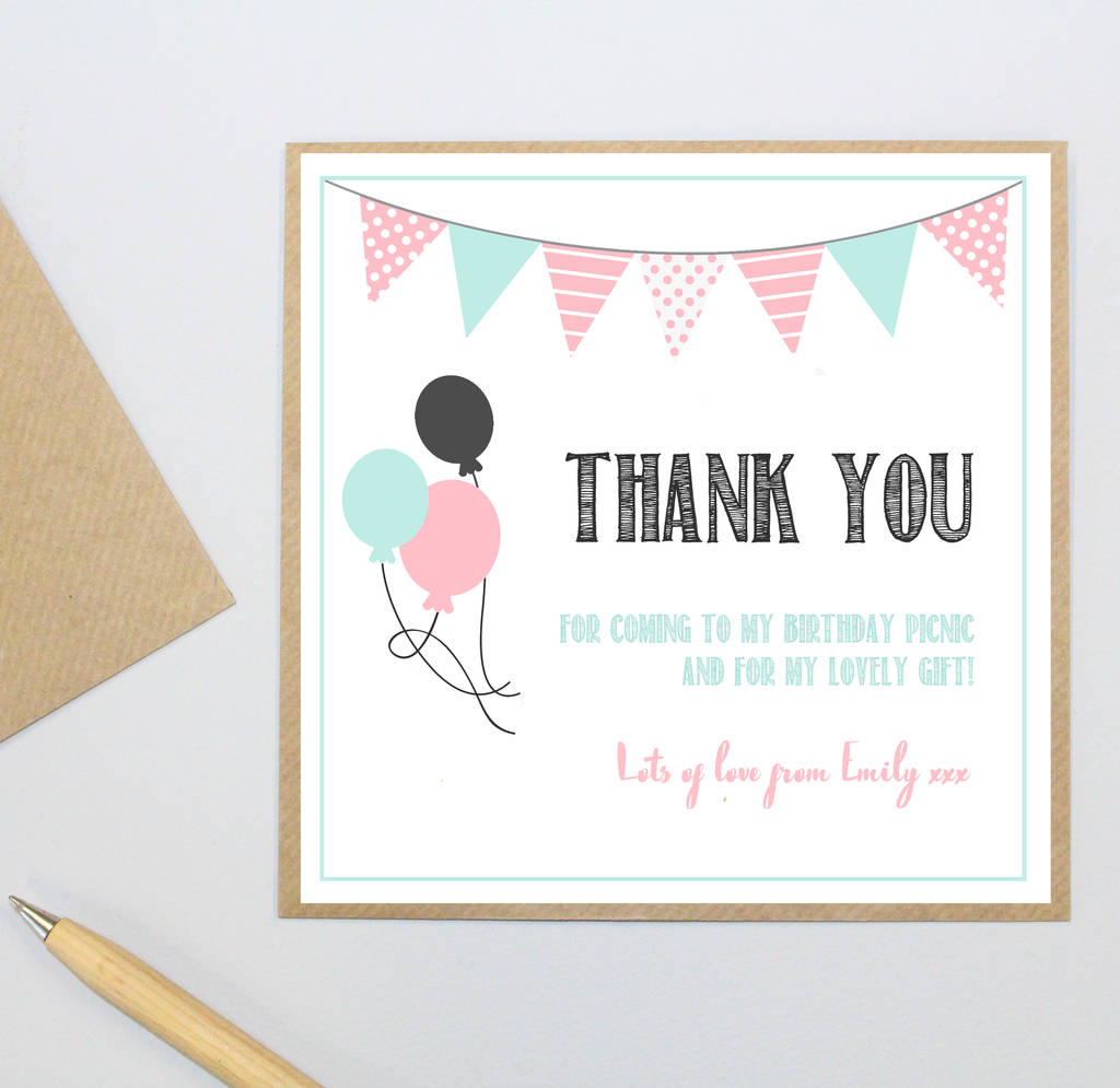 personalised party 'thank you' postcards by precious little plum