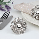 Nickel Plated English Rose Napkin Rings And Napkins