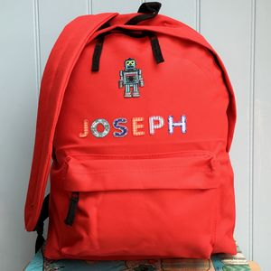 Robot Personalised Childrens Backpack - more