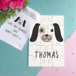Personalised Cute Puppy Face Jigsaw Puzzle - personalised gifts