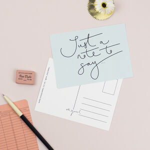 'Just A Note To Say…' Hand Lettered Simple Postcard