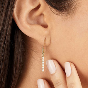 Silver Or Gold Diamond Style Bar Drop Earrings