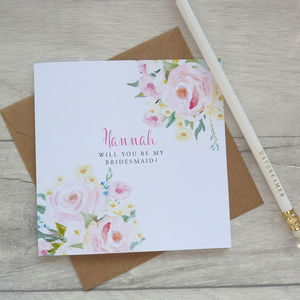 Be My Bridesmaid Floral Card - be my bridesmaid?