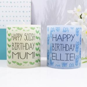 Personalised Birthday Patterned Coloured Candle - candles & candlesticks