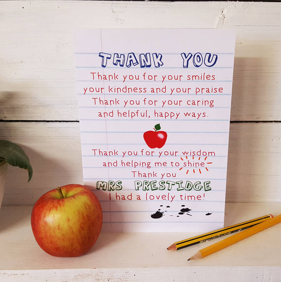 teacher thank you poem card by giddy kipper ...