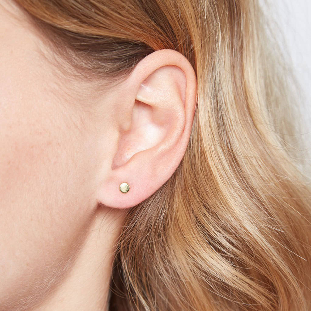 Tiny Sterling Silver Disc Stud Earrings Gold As Worn
