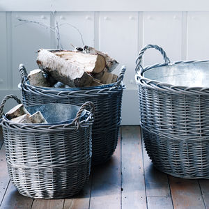 Zinc Lined Willow Basket - bedroom
