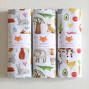 Set Of Three Muslin Swaddle Blankets
