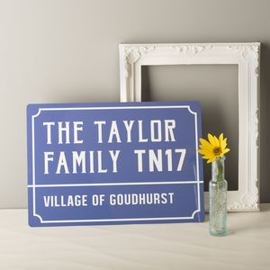Personalised French Style Metal Street Sign - gifts for families