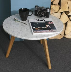 Scandinavian Style White Stone Table - coffee tables