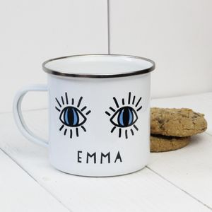 Personalised Eyes Open Enamel Mug - what's new